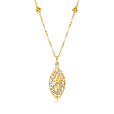C. 1990 Vintage 1.60 ct. t.w. Yellow Sapphire and .60 ct. t.w. Diamond Station Necklace in 18kt Yellow Gold