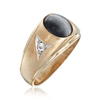 C. 1970 Vintage 9x7mm Synthetic CatS Eye Chrysoberyl Ring with Synthetic Spinels in 10kt Gold. Size 9, , default