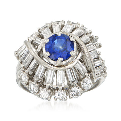 C. 1970 Vintage .95 Carat Sapphire and 2.25 Multi-Cut Diamond Ring in Platinum, , default