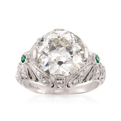 C. 1990 Vintage 4.31 ct. t.w. Certified Diamond Ring with Emeralds in Platinum, , default