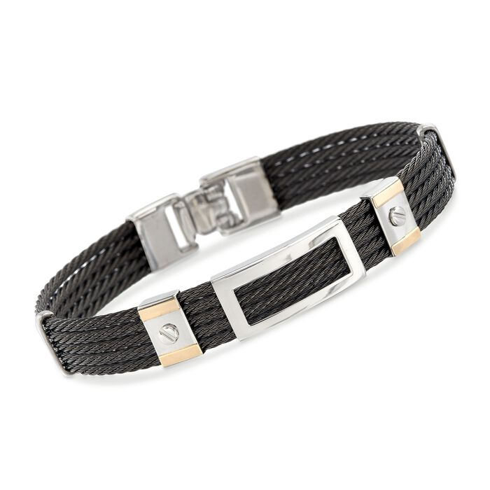 """ALOR Men's Black Stainless Steel Five-Row Cable Bracelet with 18kt Yellow Gold. 7.75"""", , default"""