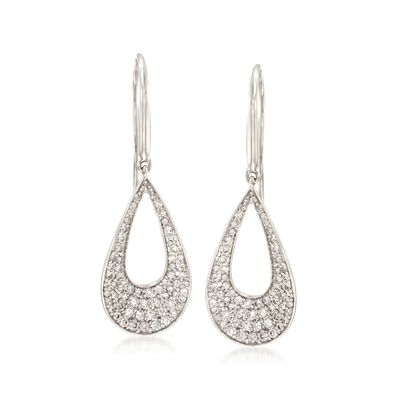 Roberto Coin .70 ct. t.w. Diamond Open Teardrop Earrings in 18kt White Gold, , default