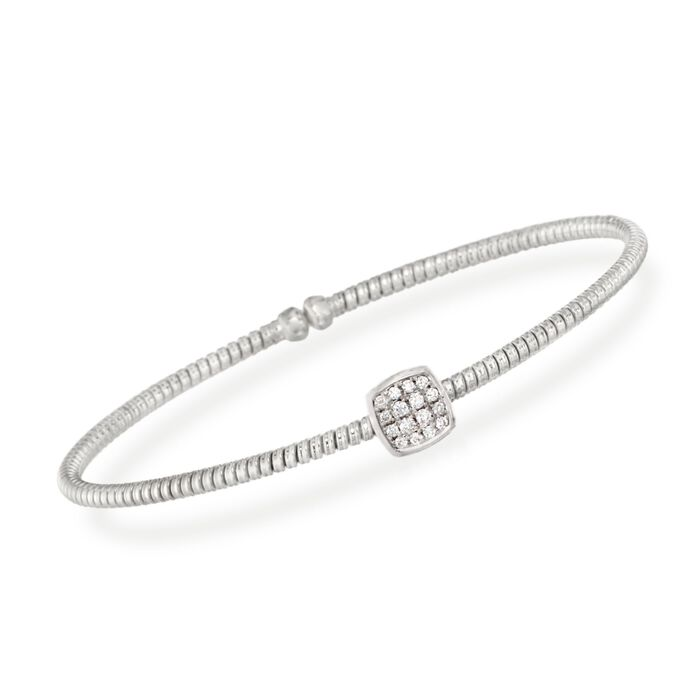 "Simon G. .16 Carat Total Weight Diamond Square Flex Bangle in 18-Karat White Gold. 7"", , default"