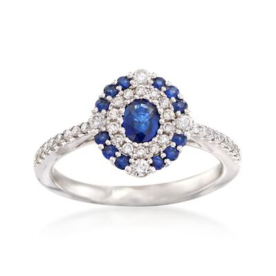 Gregg Ruth .50 ct. t.w. Sapphire and .35 ct. t.w. Diamond Ring in 18kt White Gold