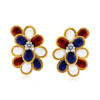 C. 1970 Vintage .15 ct. t.w. Diamond Clip-On Earrings with Multicolored Enamel in 18kt Yellow Gold, , default