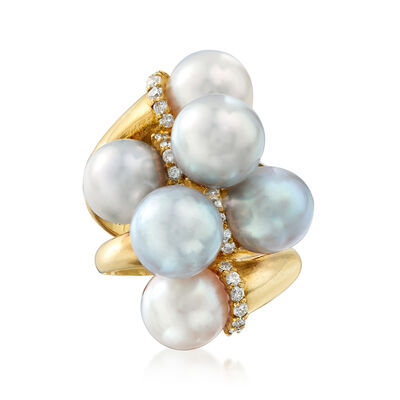 C. 1980 Vintage Cultured Pearl and .35 ct. t.w. Diamond Cluster Ring in 18kt Yellow Gold, , default