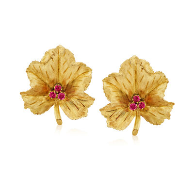 C. 1970 Vintage Tiffany Jewelry .15 ct. t.w. Ruby Flower Earrings in 14kt and 18kt Yellow Gold