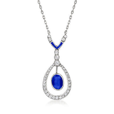 C. 1960 Vintage 1.00 Carat Sapphire and .55 ct. t.w. Diamond Necklace with Sapphire Accents in Platinum