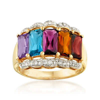 C. 1980 Vintage 3.85 ct. t.w. Multi-Gemstone Ring in 14kt Yellow Gold