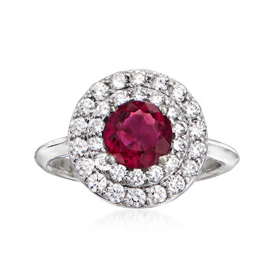 C. 1980 Vintage 1.05 Carat Pink Tourmaline Ring with .75 ct. t.w. Diamonds in 10kt White Gold