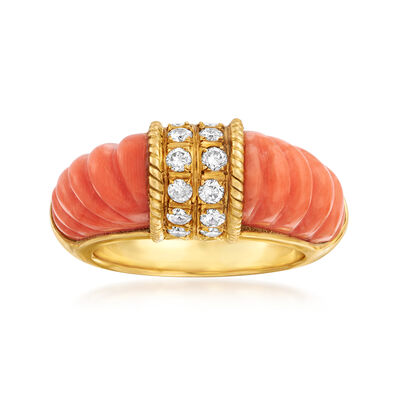 C. 1980 Vintage Coral and .50 ct. t.w. Diamond Ring in 18kt Yellow Gold