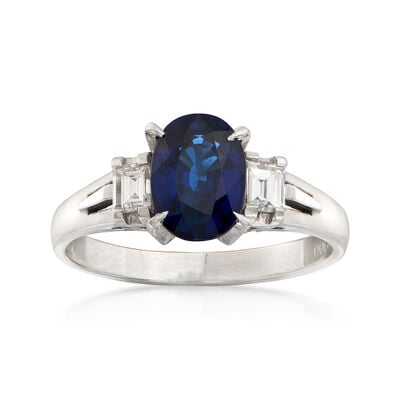 C. 1990 Vintage 1.41 Carat Oval Sapphire and .28 ct. t.w. Diamond Ring in Platinum, , default