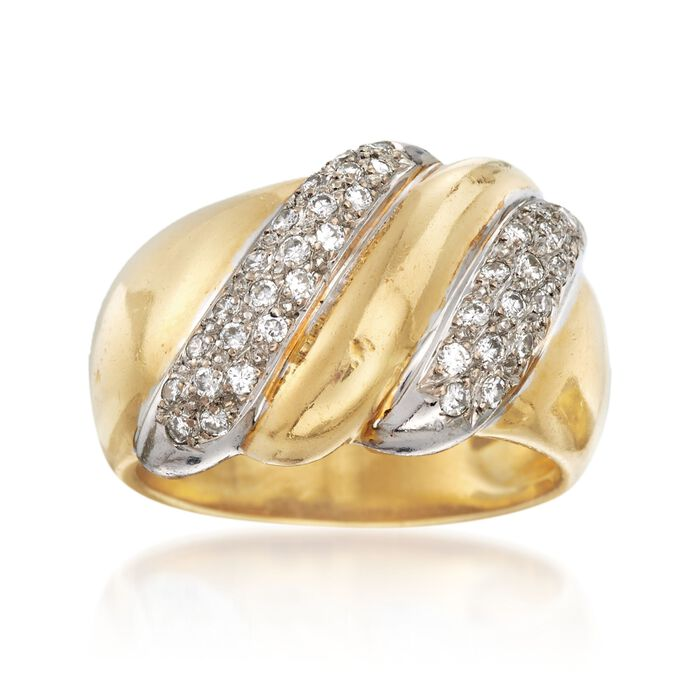 C. 1980 Vintage .50 ct. t.w. Diamond Dome Ring in 18kt Yellow Gold. Size 6.5