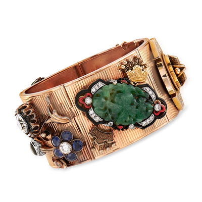 C. 1950 Vintage Multi-Gemstone and 3.25 ct. t.w. Diamond Bracelet in 14kt Rose Gold