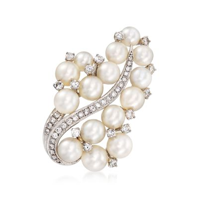 C. 1980 Vintage 5.5-7.5mm Cultured Pearl and 1.05 ct. t.w. Diamond Pin in 14kt White Gold, , default