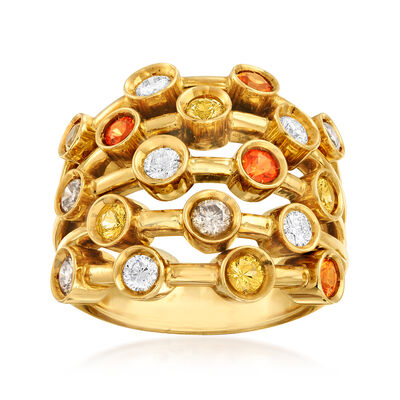 C. 1980 Vintage Chanel 1.50 ct. t.w. Multicolored Diamond Ring in 18kt Yellow Gold