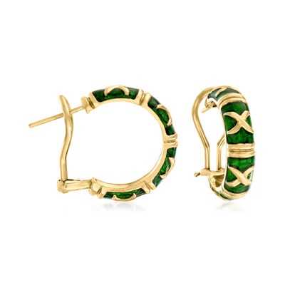 C. 1990 Vintage Green Enamel and 18kt Yellow Gold Hoop Earrings