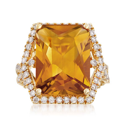 9.50 Carat Citrine and .86 ct. t.w. Diamond Ring in 14kt Yellow Gold, , default