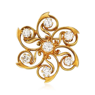 C. 1980 Vintage 1.45 ct. t.w. Diamond Flower Pin in 18kt Yellow Gold