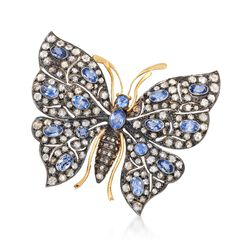 C. 1940 Vintage 4.30 ct. t.w. Diamond and 4.00 ct. t.w. Sapphire Butterfly Pin in Sterling Silver, , default