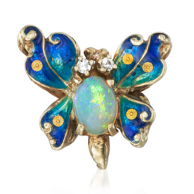 C. 1970 Vintage Opal and CZ-Accented Enamel Butterfly Pendant in 14kt Yellow Gold, , default