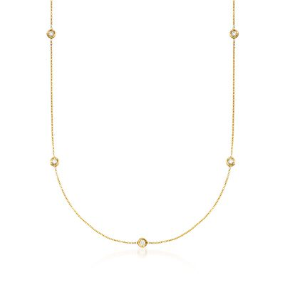 Roberto Coin .23 ct. t.w. Diamond Station Necklace in 18kt Yellow Gold, , default