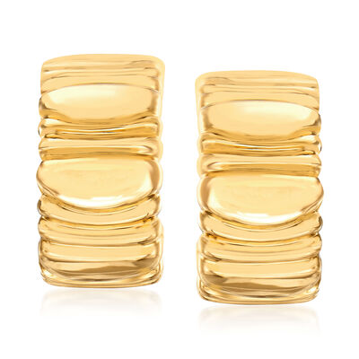 C. 1992 Vintage Cartier 18kt Yellow Gold Ridged Clip-On Earrings, , default