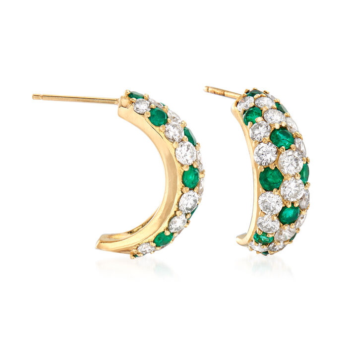 C. 1990 Vintage 3.00 ct. t.w. Diamond and 1.44 ct. t.w. Emerald J-Hoop Earrings in 18kt Yellow Gold