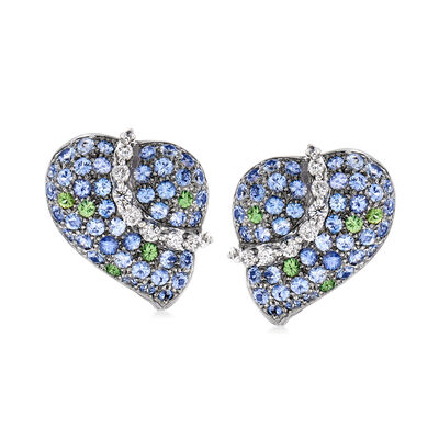 C. 1990 Vintage 7.10 ct. t.w. Multi-Gemstone and .90 ct. t.w. Diamond Heart Clip-On Earrings in 18kt White Gold, , default