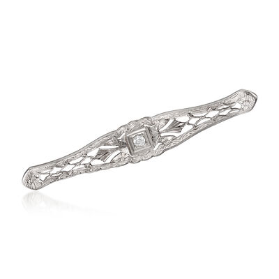 C. 1950 Vintage 14kt White Gold Filigree Bar Pin with Diamond Accent, , default