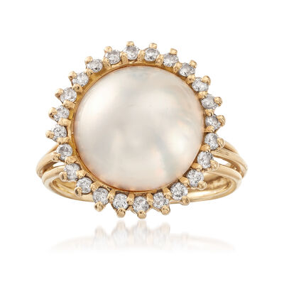 C. 1980 Vintage 14mm Mabe Pearl and .65 ct. t.w. Diamond Ring in 14kt Yellow Gold, , default