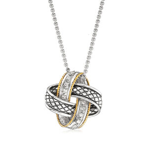 Andrea Candela 'Nudo De Amor' .14 ct. t.w. Diamond Love Knot Pendant Necklace in Sterling Silver and 18kt Gold #875205