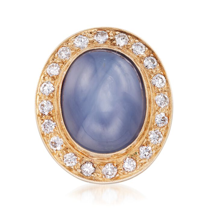 C. 1970 Vintage 16.00 Carat Certified Gray Star Sapphire and 1.10 ct. t.w. Diamond Pin in 14kt Yellow Gold