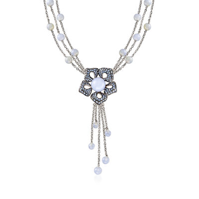 C. 1990 Vintage 46.00 ct. t.w. Blue Chalcedony and 3.53 ct. t.w. Sapphire Flower Necklace in 18kt White Gold, , default