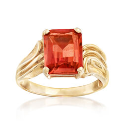 C. 1990 Vintage 5.50 Carat Synthetic Orange Sapphire Ring in 10kt Yellow Gold, , default