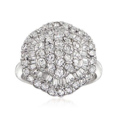 C. 1990 Vintage 2.00 ct. t.w. Round and Baguette Diamond Ring in Platinum