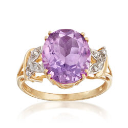 C. 1980 Vintage 4.45 Carat Amethyst Ring With Diamond Accents in 10kt Yellow Gold  , , default