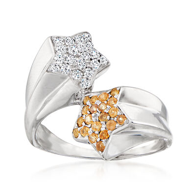 C. 1990 Vintage .25 ct. t.w. Diamond and .20 ct. t.w. Citrine Star Bypass Ring in 18kt White Gold