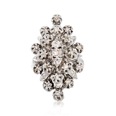 C. 1980 Vintage 1.35 ct. t.w. Diamond Cluster Ring in 14kt White Gold