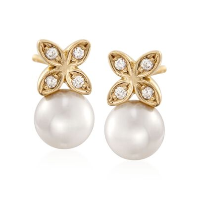 Mikimoto 5.5mm A+ Akoya Pearl Floral Earrings with Diamonds Accents in 18kt Yellow Gold, , default
