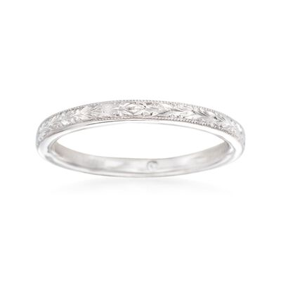 Gabriel Designs 14kt White Gold Engraved Wedding Ring, , default