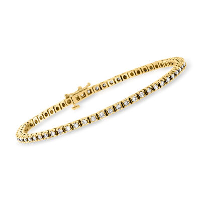 C. 1990 Vintage 2.00 ct. t.w. Diamond Tennis Bracelet in 14kt Yellow Gold
