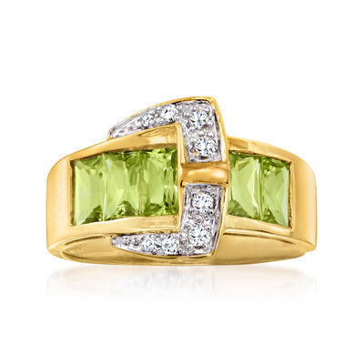 C. 1980 Vintage 1.25 ct. t.w. Peridot and .10 ct. t.w. Diamond Buckle Ring in 14kt Yellow Gold