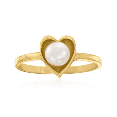 C. 1980 Vintage 4.8mm Cultured Pearl Heart Ring in 14kt Yellow Gold
