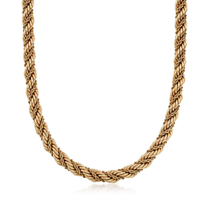 C. 1990 Vintage Tiffany Jewelry 14kt Yellow Gold Rope Necklace