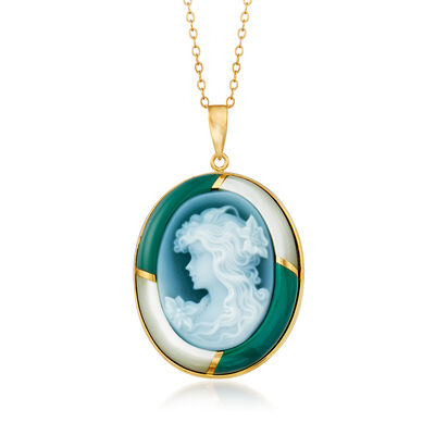 C. 1980 Vintage Mother-Of-Pearl, Green Chalcedony and Blue Agate Cameo Pendant Necklace in 18kt Yellow Gold