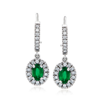 C. 1990 Vintage .90 ct. t.w. Emerald and .55 ct. t.w. Diamond Drop Earrings in 18kt White Gold
