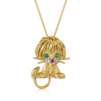 C. 1980 Vintage 18kt Yellow Gold Lion Pendant Necklace with .11 ct. t.w. Multi-Gemstone and Diamond Accents