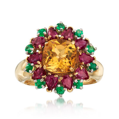 C. 1980 Vintage 3.35 ct. t.w. Multi-Gem Flower Cluster Ring in 18kt Yellow Gold, , default