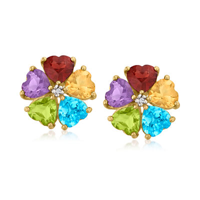 C. 1990 Vintage 7.20 ct. t.w. Multi-Gemstone Flower Earrings with Diamond Accents in 14kt Yellow Gold